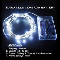 Lampu Natal LED Kawat Tembaga Putih Batre/Baterai A2 40 LED 4 Meter
