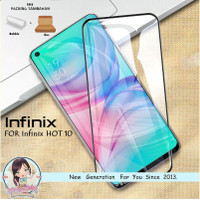 Tempered Glass 9D Infinix Hot 10 Anti Gores Kaca Warna Full