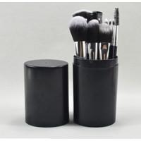 Brush 12IN1 Set Makeup Wajah Muka Skincare Dengan Tabung Unik - Hitam
