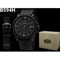 Jam tangan pria fossil paket plus tali kanvas