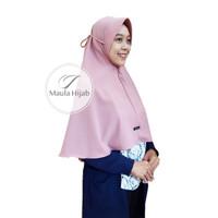 Khimar Tali Pet Antem 2 Layer Maula Hijab Jilbab Kerudung Instan Azale - Dusty Pink