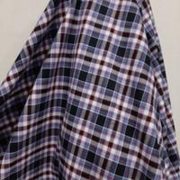 Kain Kotak Semi Wool ( Biru Navy - Putih - Orange )