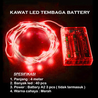 Lampu Natal LED Kawat Tembaga Merah Batre/Baterai A2 40 LED 4 Meter