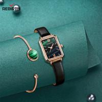 Rebirth jam tangan wanita tali kulit bisnis wanita jam tangan+gelang