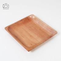 Piring Kayu Kotak / Wooden Square Plate / Properti Foto