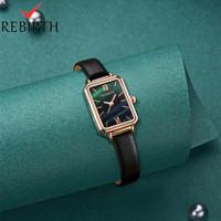 REBIRTH jam tangan wanita tali kulit bisnis wanita mewah tahan air jam