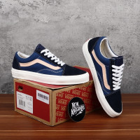 Sepatu Vans Old Skool Mono Sailor Biru Navy Blue List Cream DT BNIB
