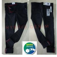 Celana Selvedge Denim Hitam Jeans Pria Cowok Pensil Stretch Skinny - Hitam, 27