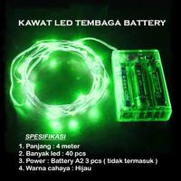 Lampu Natal LED Kawat Tembaga Hijau Batre/Baterai A2 40 LED 4 Meter