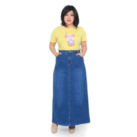 Rok Span Jeans Panjang Jumbo Wanita Kualitas Premium - 764522 - Biru, 31