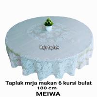 TAPLAK MEJA MAKAN PLASTIK BULAT 6 KURSI ANTI AIR PUTIH TEKSUR MEIWA