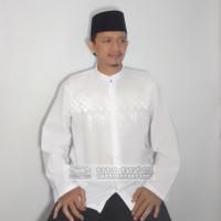 Baju Koko Katun Regular Putih Lengan Panjang Dewasa Big Size Murah - Bordir Putih B, M Lokal