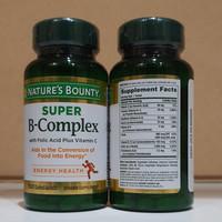 Natures Bounty Super B Complex with folic Acid Plus Vit C Import USA
