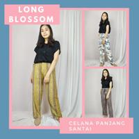 Celana Santai Panjang Wanita Long Blossom Size Jumbo Bahan Rayon Adem
