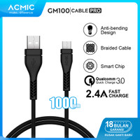 ACMIC GM100 Pro Kabel Data Charger Micro USB 100cm Fast Charging Cable