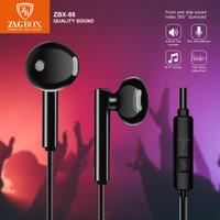 Handsfree Handset ZAGBOX Earphone Quality Sound (ZBX-088) - Hitam