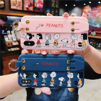 SNOOPY N FRIENDS WITH HANDGRIP SOFTCASE CASING IPHONE 6 7 8 6S PLUS - Pink