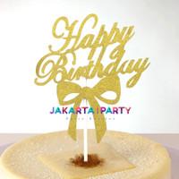 Cake Topper HBD Kertas Gold #2 / Topper Cake Dekorasi Kue Ultah