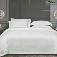 Sutra Tencel Bedding set Sprei Bedcover King or Queen Size White/putih