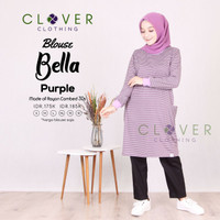 BAJU ATASAN Blouse Kaos Wanita Lengan Panjang Muslimah Bella Clv - Size S