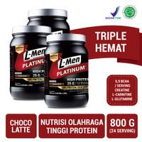 3 x L-Men Platinum Choco Latte 800gr (25gr Protein/serving) - 5.3 lbs
