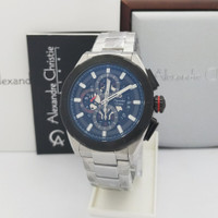 Jam Tangan Pria Alexandre Christie AC 6560 MC SVBL silver black Ori