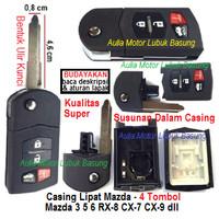 casing kunci lipat flip key remote mazda 3 5 6 rx-8 cx-7 cx-9 4 tombol