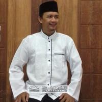 Baju Koko Katun Putih Polos Tanpa Bordir Lengan Panjang | Haji Umroh - Bordiran Putih, M
