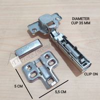 Hydraulic Hinges Clip On / Engsel Slow Motion Soft Close Baleno