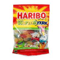 HARIBO Worms Zourr Jelly Fruit Candy Worm Sour 80g - Permen Rasa Asam