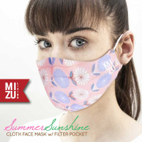 SUMMER SUNSHINE Cloth Face Mask Masker Kain Bunga 3 Ply Kantong Filter
