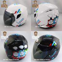 Helm Half Face Gm Teen Thomas #2 White - black Corak Pilihan Varian XL - White
