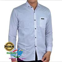 Kemeja Putih Pria Lengan Panjang Polos Premium Katun M-XL Formal Kerja