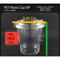 Plastic Cup PET / Gelas PET 14 Oz + Strawless Lid @50 Pcs SIP 98.5