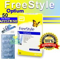 FREESTYLE OPTIUM 50 STRIPS TANPA BOX - ALAT CEK GULA DARAH ORIGINAL !!