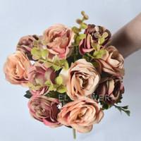 Mawar Rose Rustic 10 kuntum bunga artificial dekorasi - rustic orange