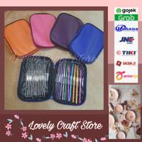 22pcs/set Crochet Hook Set Alat Rajut, jahit, chrochet kit, hakpen