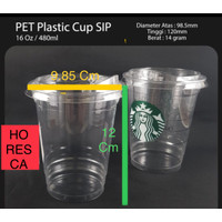 Plastic Cup PET / Gelas PET 16 Oz + Strawless Lid @50 Pcs SIP 98.5