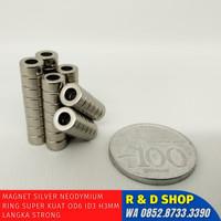 Magnet silver Neodymium Ring SUPER KUAT OD6 ID3 H3mm langka strong