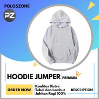 Jaket Sweater Hoodie Jumper Polos PREMIUM Abu Muda Pria Wanita