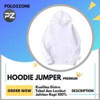 Jaket Sweater Hoodie Jumper Polos PREMIUM Putih Pria Wanita