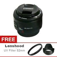Lensa Yongnuo 50mm F1.8 For canon Plus UV dan Lenshood