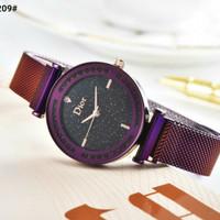 Jam Tangan Dior Crystal Round Tali Rantai Magnet 0209 Semi Premium