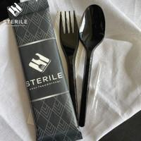 Set sendok plastik, garpu, tissue , tusuk gigi Premium Hitam