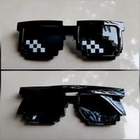 Kacamata Thug Life Minecraft Hitam 8-bit Unisex Fashion Anak Kekinian