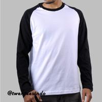 Kaos Polos Raglan Panjang Putih - Hitam Cotton Combed 30s - S