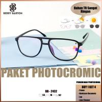 Berrybarton 2432 paket lensa photocromic anti radiasi / kacamata minus - Hitam