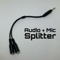 Splitter Cable Audio + Mic 2in1 TRRS Male 3.5mm Jack Earphone Stereo