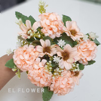 Hydrangea 5 Kuntum + Aster dan Babybreath Bunga Artificial Dekorasi