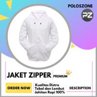 Jaket Sweater Hoodie Zipper Polos PREMIUM Putih Pria Wanita